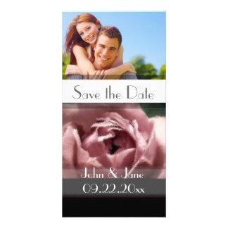 """Rose /photo """"économies de mauve la date """" modèle pour photocarte"""