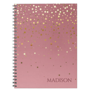 Rose Pink And Marsala Glitter Stars Notebook