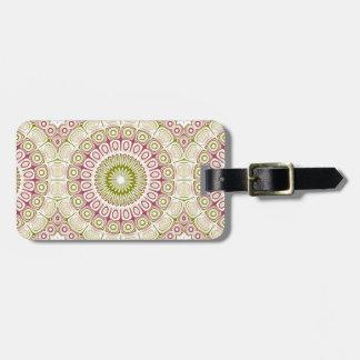 Rose Pink and Olive Green Mandala Medallion Bag Tag