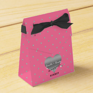 Rose Pink And Silver Heart Polka Dots Favor Boxes
