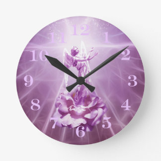 Rose pink Angel flame of love Round Clock