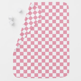 Rose Pink Checkerboard Pattern Baby Blanket
