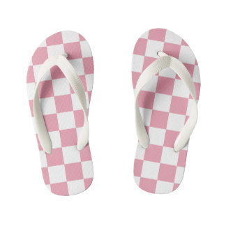 Rose Pink Checkerboard Pattern Kid's Flip Flops