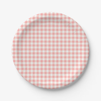 Rose Pink Gingham Check Plaid / Small Checkerboard Paper Plate