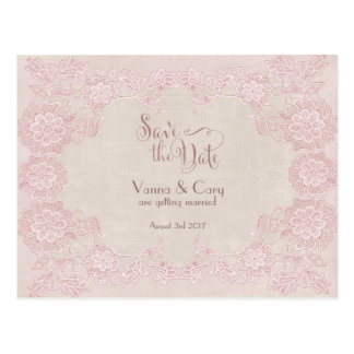 Rose Pink Glam Lace Dove Grey Save The Date Postcard
