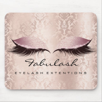 Rose Pink Glitter Beauty Lashes Extension Damask Mouse Pad