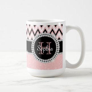 Rose Pink Glitter Pink Chevron Monogram Coffee Mug