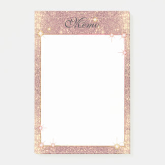 Rose Pink Glitter Sparkle Glam Faux Texture Post-it Notes