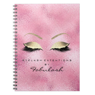 Rose Pink Gold Glitter Eyes Makeup Beauty Glass Notebook
