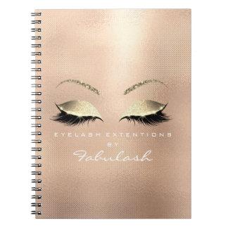 Rose Pink Gold Glitter Eyes Makeup Beauty Mesh Notebooks