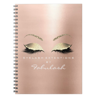 Rose Pink Gold Glitter Eyes Makeup Beauty White Notebooks