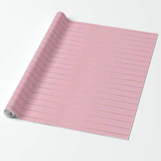 Rose Pink Gold Stripes Glam Shiny Design Stylish Wrapping Paper