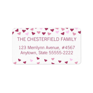 Rose & Pink Hearts Border Label