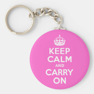 Rose Pink Keep Calm and Carry On Basic Round Button Keychain