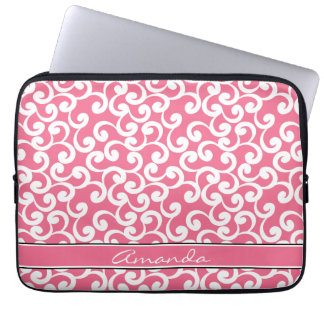 Rose Pink Monogrammed Elements Print Laptop Sleeve