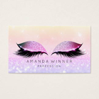 Rose Pink Ombre Lashes Makeup Glitter Makeup Business Card