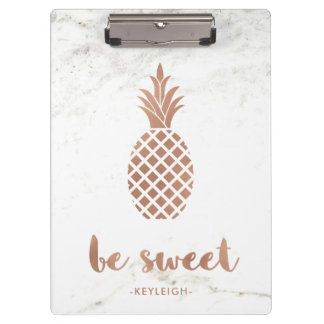 Rose Pink Pineapple on White Marble | Be Sweet Clipboard