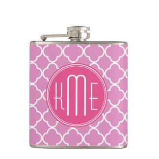 Rose Pink Quatrefoil with Custom Monogram Hip Flask
