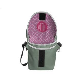Rose Pink Quatrefoil with Custom Monogram Courier Bags