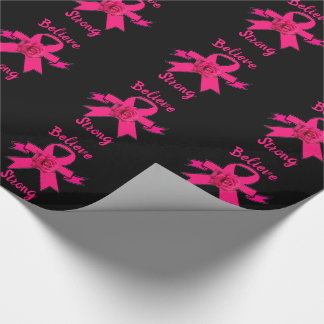 Rose Pink Ribbon Strong Wrapping Paper