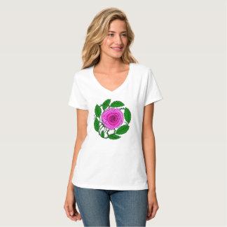 Rose Pink T-Shirt for Women, V-Neck short-sleeve
