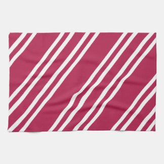 Rose Pink w/White Stripes Kitchen Towel