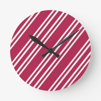 Rose Pink w/White Stripes Round Clock