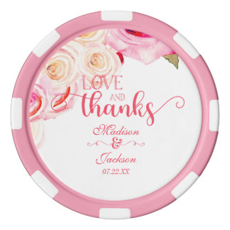 Rose Pink & Yellow Floral Wreath Wedding Thank You Poker Chips Set