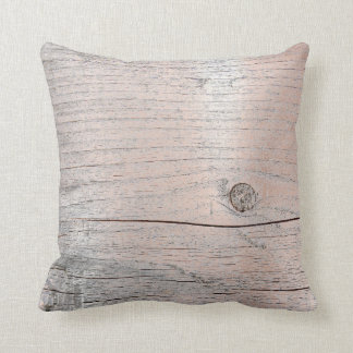 Rose Powder Gold Glam Metallic Wood Gray Metallic Throw Pillow