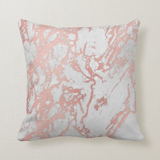 Rose Powder Gold Metallic Glitter Marble Carrara Throw Pillow