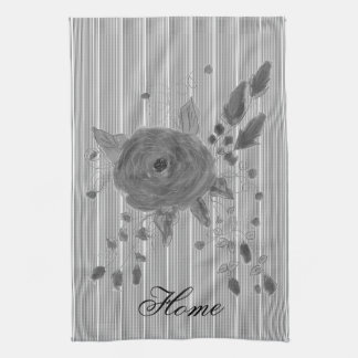 Rose Print In Grays With Black Pinstripes Kitchen Towel