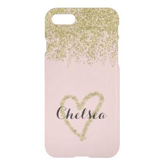 Rose Quartz And Gold Glitter Cascade Sheer iPhone 7 Case