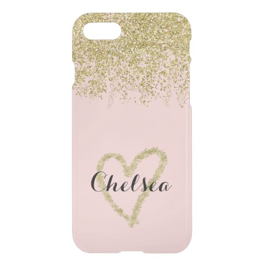 Rose Quartz And Gold Glitter Cascade Sheer iPhone 8/7 Case