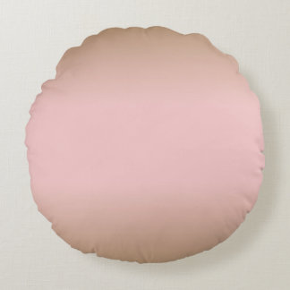 Rose Quartz and Iced Coffee Ombre Pink Brown Round Pillow