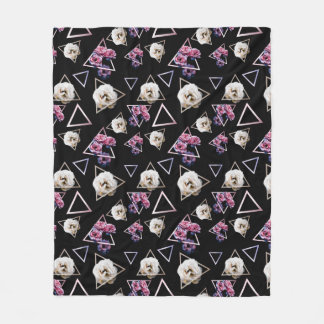 Rose quartz and pink tourmaline dark floral fleece blanket