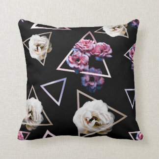 Rose quartz and pink tourmaline dark floral throw pillow