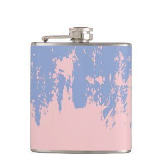 Rose Quartz and Serenity Blue Paint Strokes Hip Flask