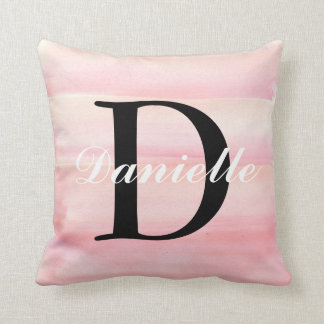 Rose Quartz Blush Baby Pink Monogram Throw Pillow