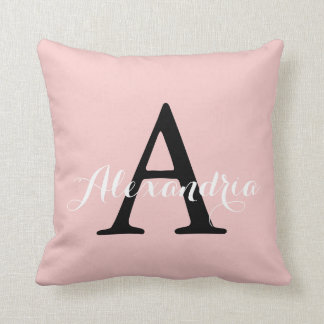 Rose Quartz Blush Baby Pink Solid Color Monogram Throw Pillow