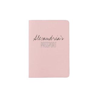 Rose Quartz Blush Light Pink Solid Color Custom Passport Holder