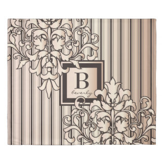 Rose Quartz Damask Stripes Monogram Girly Neutral Duvet Cover