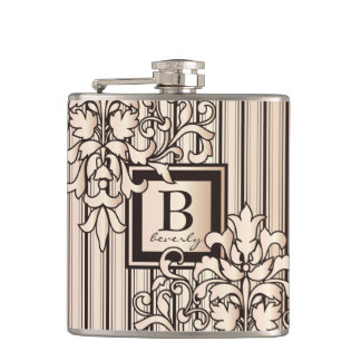 Rose Quartz Damask Stripes Monogram Girly Neutral Hip Flask