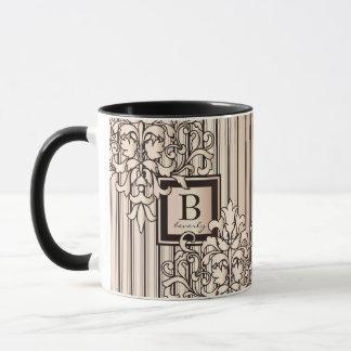 Rose Quartz Damask Stripes Monogram Girly Neutral Mug