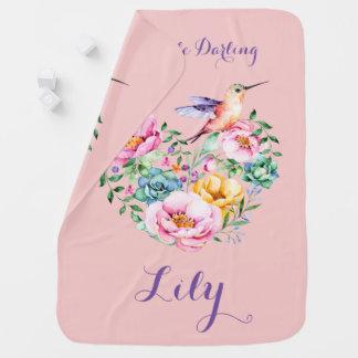 Rose Quartz Flower Heart and Hummingbird Swaddle Blanket