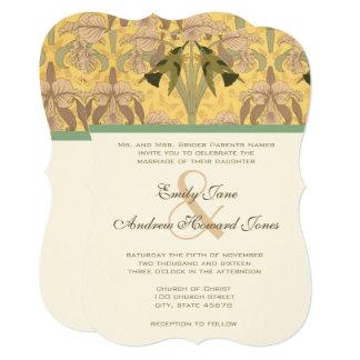 Rose Quartz Golden Art Deco Hummingbirds Wedding Card