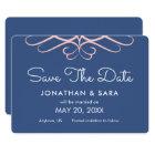 Rose Quartz on Denim Blue, Elegant Save the Date Card