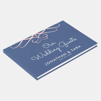 Rose Quartz on Denim Blue, Elegant Wedding Guest Book