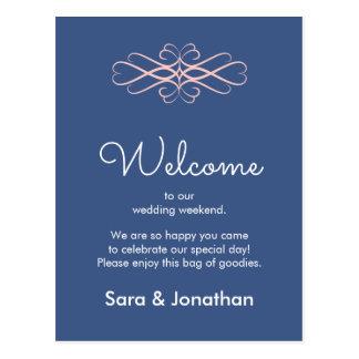 Rose Quartz on Denim Blue, Elegant Wedding Welcome Postcard