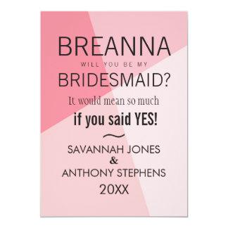 Rose Quartz Pink Geometric Bridesmaids Invitations