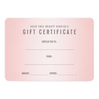 Rose Quartz Shabby Chic Modern Gift Certificate Card